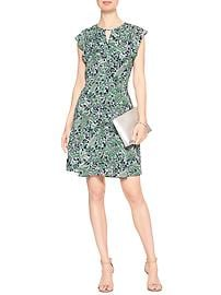 Print Flutter-Sleeve Fit and Flare Dress