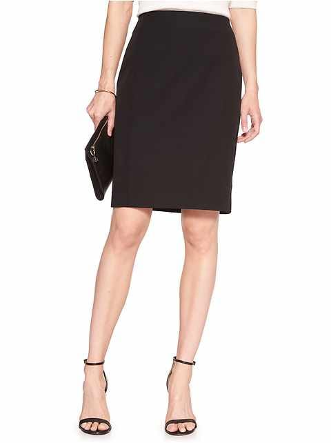 Petite Machine Washable Classic Black Bi-Stretch Tailored Pencil Skirt