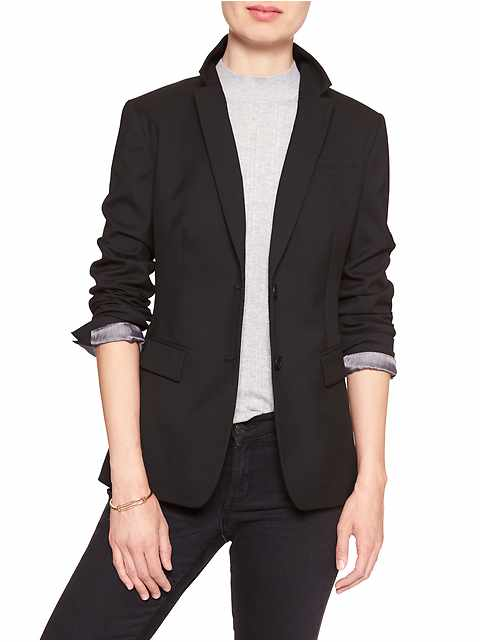 Petite Machine Washable Long and Lean Black Two-Button Blazer