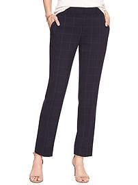 Machine Washable Ryan Navy Windowpane Slim Straight Pant