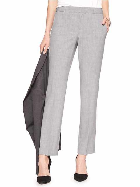 Petite Machine Washable Ryan Curvy Light Grey Slim Straight Pant
