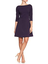 3/4-Sleeve Jacquard Fit and Flare Dress