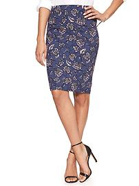 Print Crepe Pencil Skirt