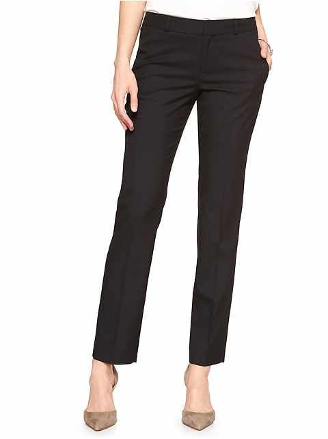 Petite Machine Washable Ryan Classic Black Slim Straight Pant