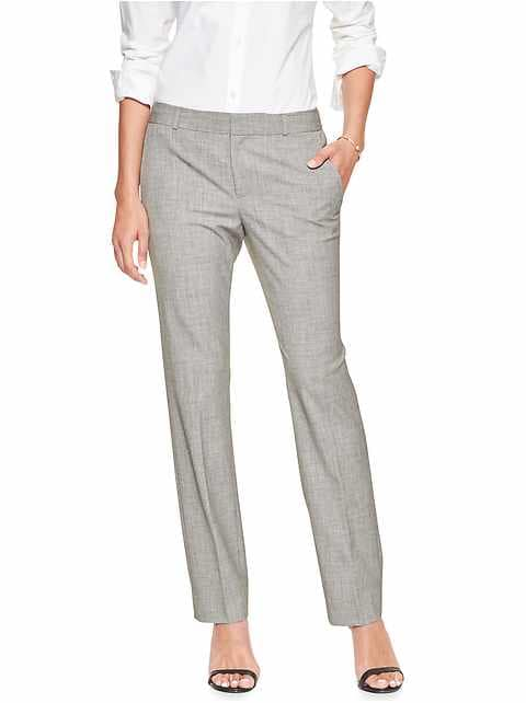 Petite Machine Washable Ryan Light Grey Slim Straight Pant