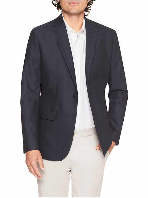 Slim-Fit Navy Textured Blazer