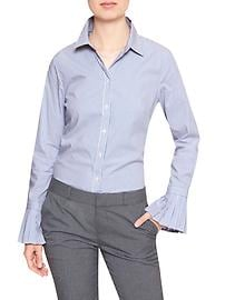 Striped Pleat-Cuff Tailored Shirt