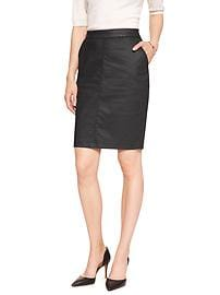Coated Denim Pencil Skirt