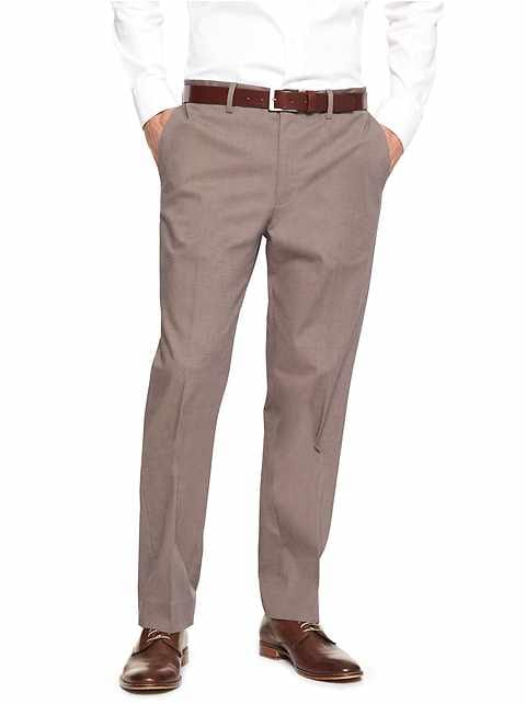Non-Iron Standard-Fit Taupe Dress Pant