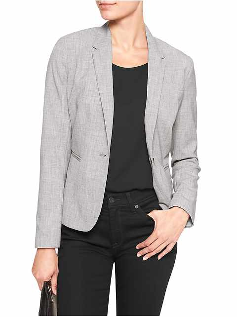 Petite Machine Washable Light Grey One-Button Blazer