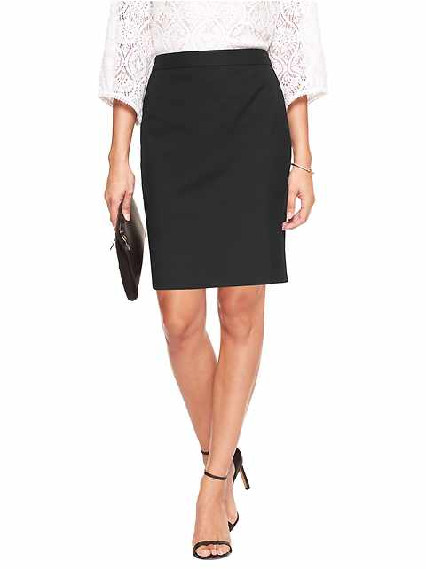 Machine Washable Classic Black Pencil Skirt