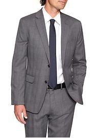 Standard-Fit Stretch Grey Plaid Blazer