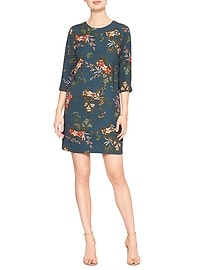 Placed-Print Shift Dress