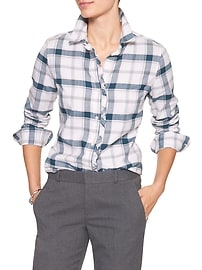 Flannel Ruffle-Placket Classic Plaid Shirt