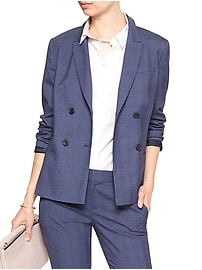 Machine Washable Chambray Double-Breasted Blazer