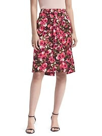Floral Tie-Waist Pencil Skirt