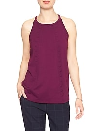 Scallop Front High Neck Top