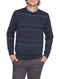 Machine Washable Merino Striped Crew Sweater