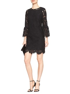 3/4 Bell Sleeve Lace Shift Dress