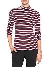 Timeless Striped Long Sleeve Mock-Neck Tee