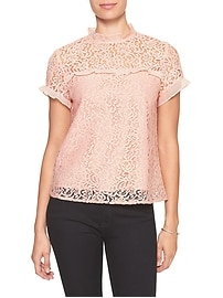 Pieced Lace Mock-Neck Top