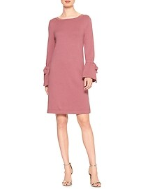 Bell Tie-Cuff Sweater Shift Dress