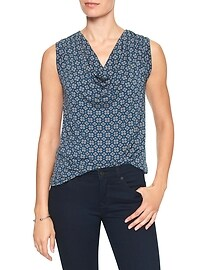 Geo Print Sleeveless Cowl-Neck Top
