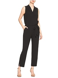 Crossover Front Tie-Waist Jumpsuit