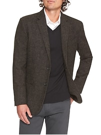 Standard-Fit Brown Tweed Blazer