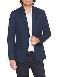 Slim-Fit Blue Cotton Blazer