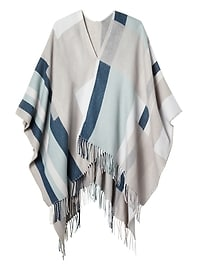 Beige and Blue Multi-Way Poncho