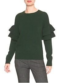 Drop Shoulder Ruffle Crew Sweater