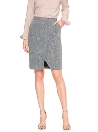 Bouclé Longline Wrap Pencil Skirt