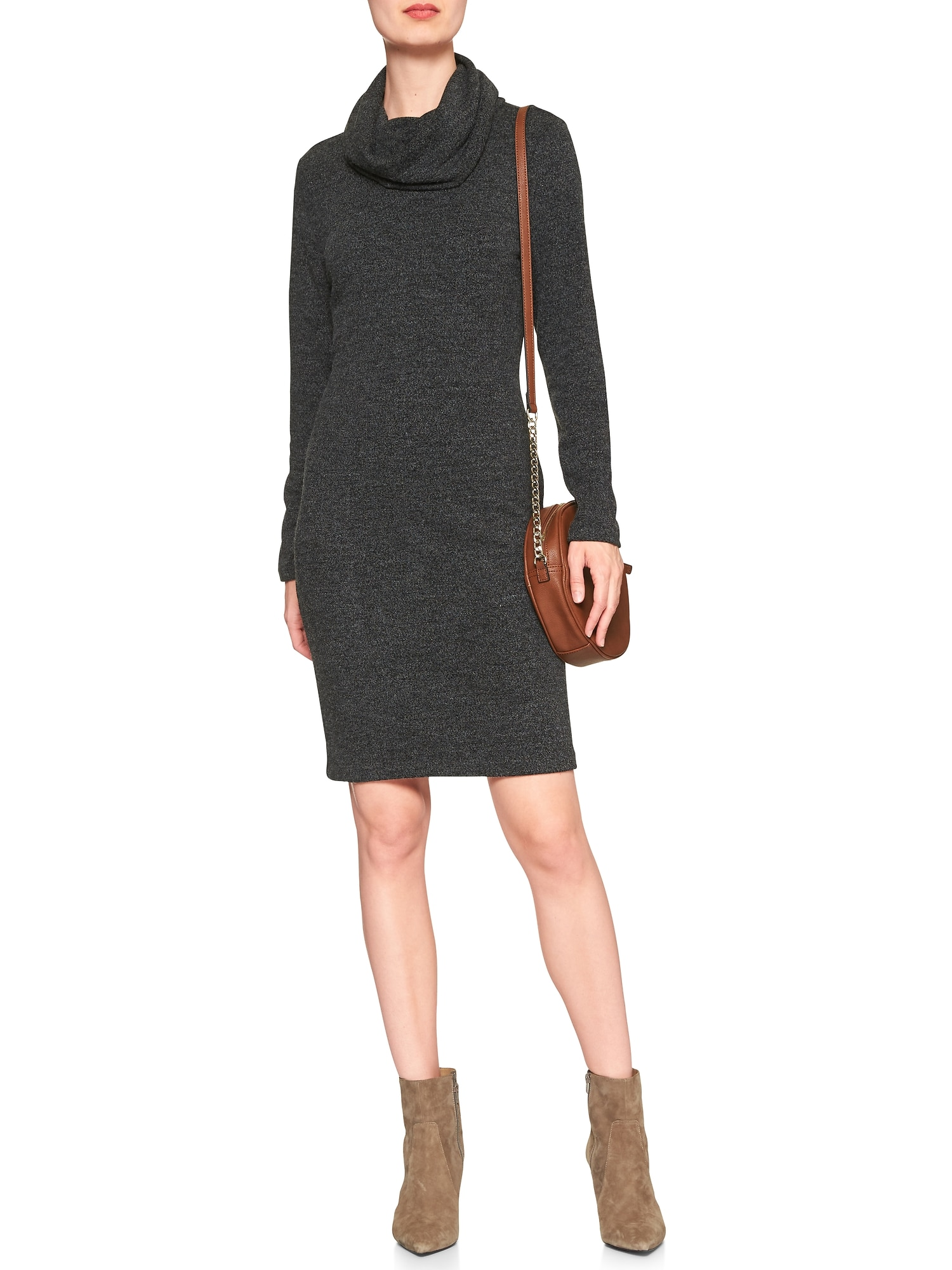 Marled Cowl Turtleneck Dress | Banana Republic Factory
