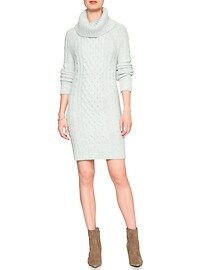 Cable Cowl Turtleneck Sweater Dress
