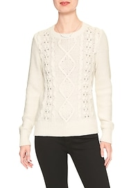 Embellished Cotton Cable Crew Sweater