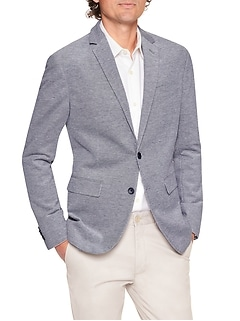 Slim-Fit Pique Cotton Blazer