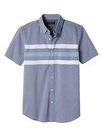 Slim-Fit Tri-Stripe Short Sleeve Soft Wash Shirt