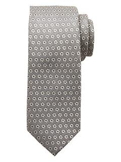 Silver Geo Floral Tie
