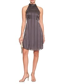 Halter Sheer Stripe Fit and Flare Dress
