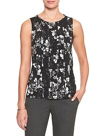 Print Pleated Front Top
