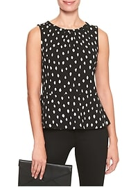Printed Crepe Peplum Top