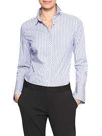 Tailored Stretch Ticking Stripe Bell Cuff Shirt