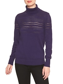 Pointelle Micro-Knit Turtleneck Sweater