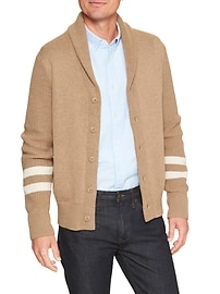 Track Stripe Shawl Collar Cardigan