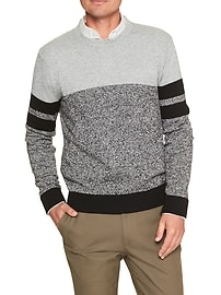 Marled Block Stripe Crew Sweater