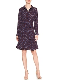Printed Tie-Waist Shirtdress