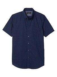 Slim-Fit Soft Wash Navy Short Sleeve Shirt