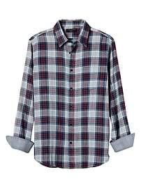 Standard-Fit Red Plaid Double Weave Shirt