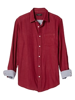 Standard-Fit Red Double Weave Shirt